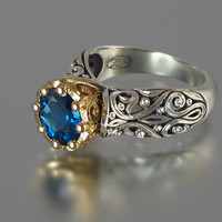 The ENCHANTED PRINCESS engagement 14k gold ring with by WingedLion