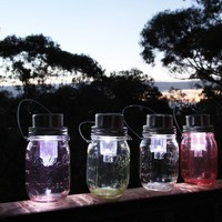 Violet stained solar powered Ball Mason jar lantern - by twocrackedjars on madeit