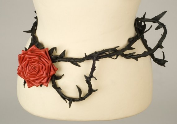 Red rose leather belt by MetamorphDK on Etsy
