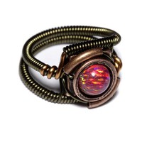 Steampunk Jewelry - Ring - Ruby Red LAB created OPAL | CatherinetteRings - Jewelry on ArtFire
