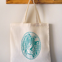 Tote Bag- Girl in the Willows - Aqua on Natural Canvas Screenprinted Papercut Illustration