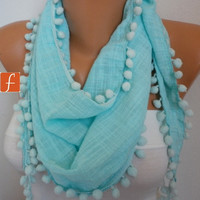 Mint  Scarf  -  Women Scarf  Cotton Scarf  -  Cowl Scarf  with Lace Edge - fatwoman