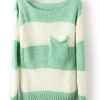 Green White Striped Long Sleeve Sweater