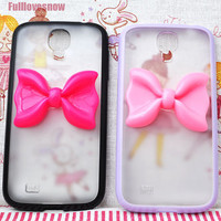 TPU add PC sweet bow phone cover samsung galaxy S4 by fulllovesnow