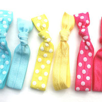 Polka Dot &amp; Solid Hair Ties (10) Elastic No Dent Hair Bands - Emi Jay Like Yoga Hair Ties - Summer Hair Tie Bracelets