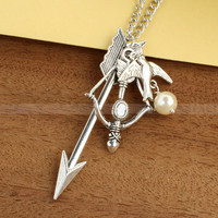 Mockingjay necklace with Katniss Arrow and Bow with Peeta Pearl  by luckyvicky