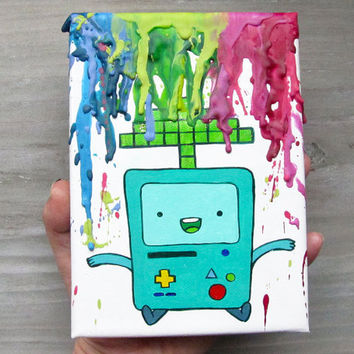 BMO - Adventure Time Inspired Painting - 8 Bit -  Rainbow - Colors - Melted Crayon