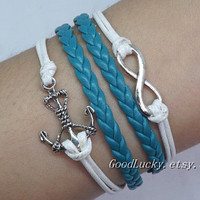 Personalized anchor bracelets,Infinity bracelet,handmade bracelets,charm bracelets,best gifts idea,friendship gifts-leather bracelet