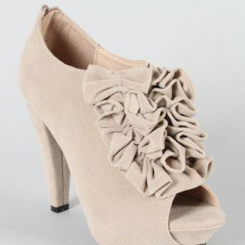 Study-1 Ruffle Peep Toe Ankle Bootie