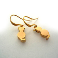 Matt Gold Plated Cat Earrings