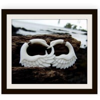 Fake gauges earrings, Swans Wing ,White Bone ,Split Gauge Earrings, hand Craved ,naturally,tribal ,oraganic