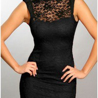 The Milan Black Lace Neck Dress