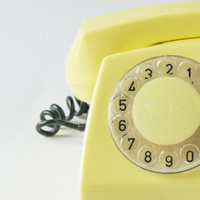 Vintage office telephone, lemon tone bakelite, shabby telephone roto dial for home decor