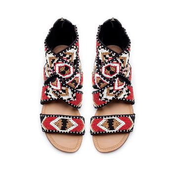 BEADED FLAT SANDAL - Shoes - TRF - ZARA United States
