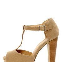 Brina 01 Taupe T-Strap Peep Toe Platform Heels