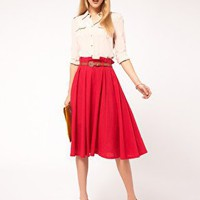 ASOS | ASOS Linen Midi Skirt With Belt at ASOS