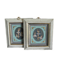 Vintage Ballet Prints Framed Wall Art - Set of Two - Dancers - Wall Hanging