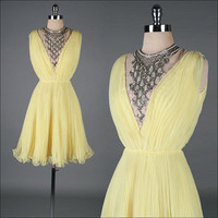 vintage 1960s dress . JACK BRYAN . yellow chiffon . jeweled bib . 3306