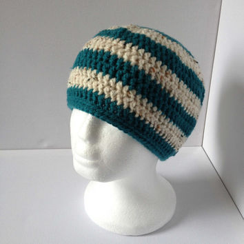 Green Beanie Hat, Mens Fitted Green Hat, Green and Cream Crochet Hat, Simple Green Beanie
