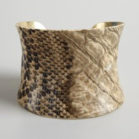 Kenneth Jay Lane brass snake print cuff | BLUEFLY up to 70 off designer brands