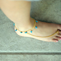 Anklet &amp; Toe Ring with Turquoise Beads by NativeLivingJewelry