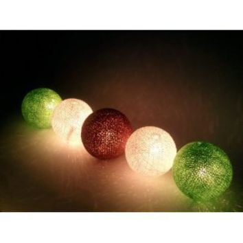 I Love Handicraft Fresh Forest Color Tone Cotton Ball String Lights Patio Wedding and Party Decoration (20 Balls/set)