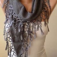 New - Gray - Mother&#x27;s Day Gift Scarf - Pashmina Scarf in Gray with Trim Edge