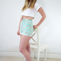 Vintage mint floral high waisted denim shorts from Miss Lawes Adores