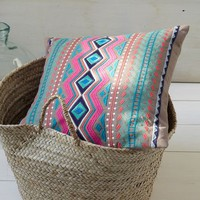 Embroidered Puebla Pillow Cover