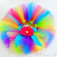 Newborn Infant Rainbow Tutu...Portrait Tutu, First Birthday...CANDY RAINBOW | TutuGorgeousGirl - Children's on ArtFire