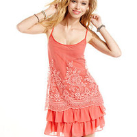 Wishes Wishes Wishes Juniors Dress, Spaghetti-Strap Lace Ruffle Mini - Juniors Dresses - Macy's