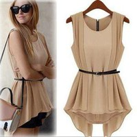 Fashionwoman  fashion Vintage chiffon dress with belt