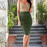 Olive Multi Ruched tank dress, buckle studded strappy heel from VENUS