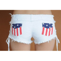 Fashionwoman — 2342 Flag package hip repair leg shorts denim shorts