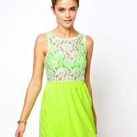 Glamorous Skater Dress In Neon Lace