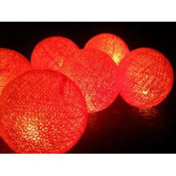 I Love Handicraft Lights Orange Color Set Cotton Ball String Lights Patio Wedding and Party Decoration (20 Balls/set)