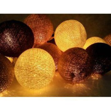 I Love Handicraft Black Brown and Ivory and White Color Set Cotton Ball String Lights Patio Wedding and Party Decoration (20 Balls/set)