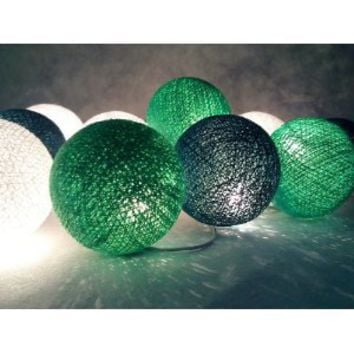 Amazon.com: I Love Handicraft Green Tone Color Set Cotton Ball String Lights Patio Wedding and Party Decoration (20 Balls/set): Everything Else