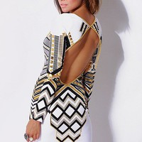 White & Metallic Gold Tribal Print Backless Mini Dress