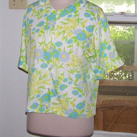 Vintage 1960's Floral Print Short Sleeved Shirt
