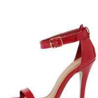 My Delicious Chacha Lipstick Red Patent Single Strap High Heels
