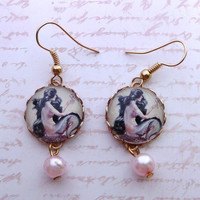 Vintage Mermaid At Sea Pearl Drop Fantasy Earrings