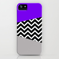 Neon Purple  Grey Chevron iPhone Pop Case iPhone &amp; iPod Case by RexLambo