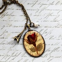 Real Rose Necklace Wearable Art Pressed by NaturalPrettyThings
