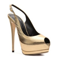 Shop  Giuseppe Zanotti Metallic Leather Peep Toe Pump Larger View