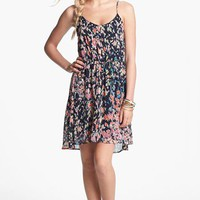 Lush Cutout Ruffle Chiffon Dress (Juniors) | Nordstrom