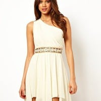 TFNC Embellished One Shoulder Dress with Handkerchief Hem at asos.com