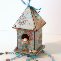 Birdhouse Suncatcher Beach Theme Beaded Mixed Media by rrizzart