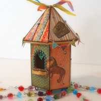 Birdhouse Suncatcher Circus Theme Beaded Mixed Media by rrizzart