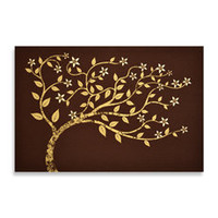 Studio Arts Beaded Tree On Linen Wall Art